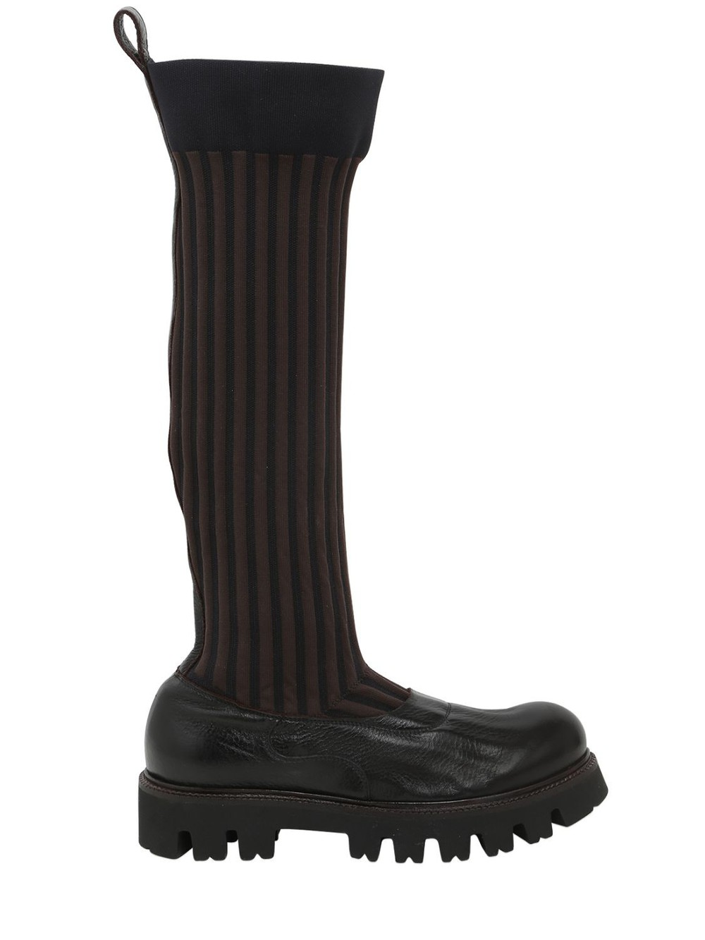 ROCCO P. 30mm Elastic & Leather Boots in black / brown