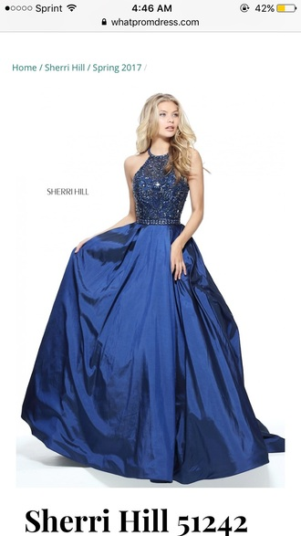 dress blue halter top prom dress long