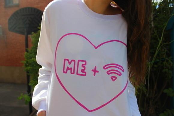 heart blouse teen sweater shirt wi fi wi-fi love white pink wifi i love wifi internet i heart me plus white sweater quote on it freshtops oversized sweater
