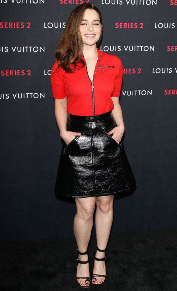 skirt leather skirt cute red top red top emilia clarke