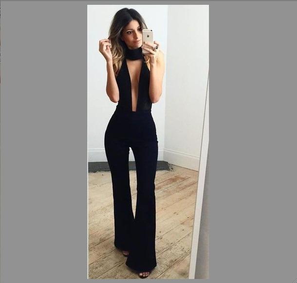 f1c370ce0bd20d jumpsuit plungee combipants black combi choker top black jumpsuit halter  neck halter jumpsuit party outfits sexy