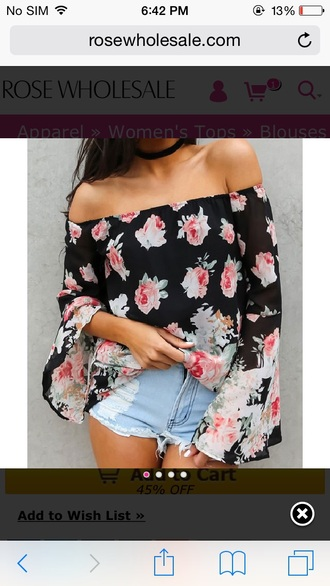 roses floral flowers off the shoulder off the shoulder top peasant top long sleeves denim shorts distressed denim shorts