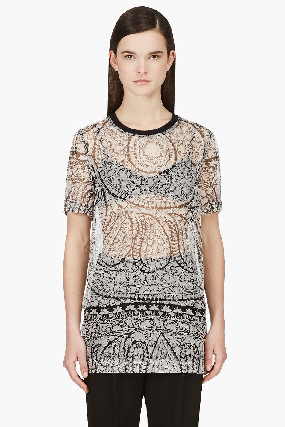 Giambattista valli white silk chiffon embroidery print t_shift