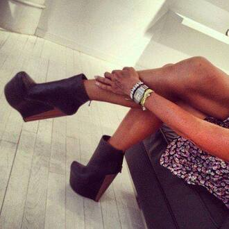 shoes boots black black high heels wood high heels black  high heels boots