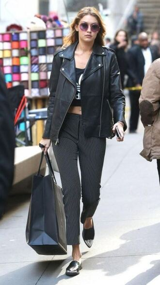 top jacket pants gigi hadid flats shoes sunglasses