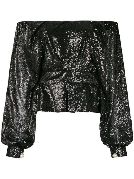Ingie Paris top women embellished black sequins