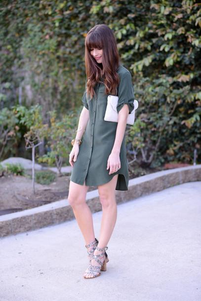 m loves m blogger olive green shirt dress dress shoes bag make-up jewels