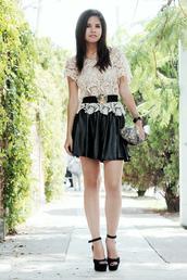 fake leather,bag,skirt,belt,t-shirt