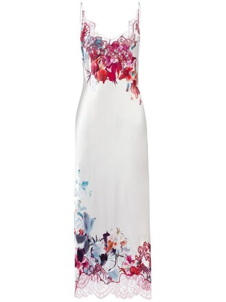 dress night dress women floral nude print silk