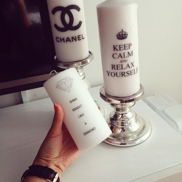chanel jewels candle keep calm diamonds home decor