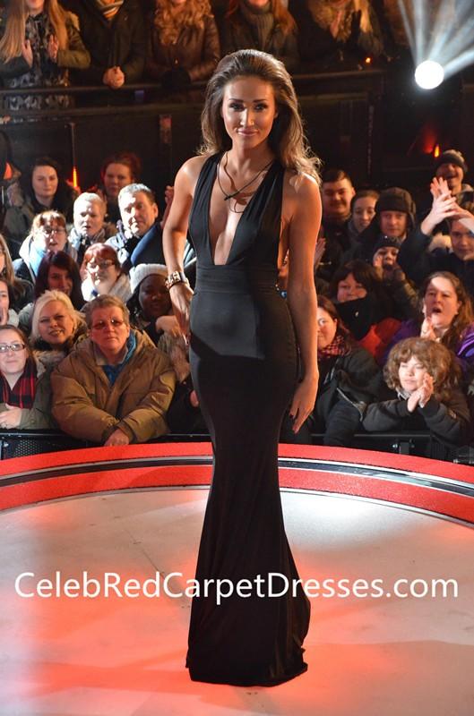 Megan Mckenna Black V-neck Dress Celebrity Big Brother Eviction 2016
