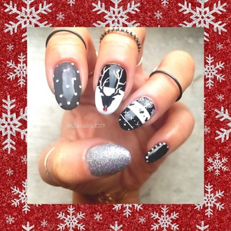 nail polish polka dots glitter glitter nails ring christmas nails christmas nail polish winter nails deer