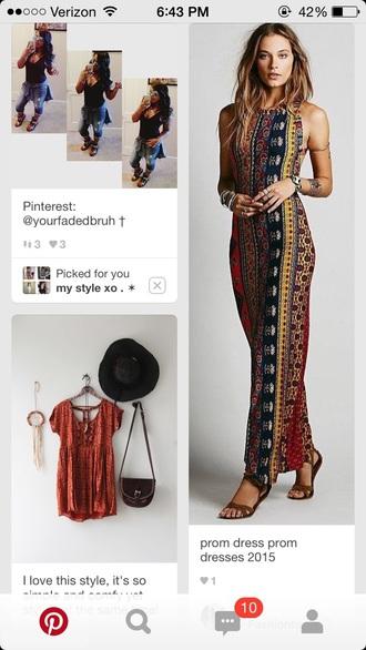 dress long dress maxi maxi dress patterned dress boho dress bohemian dress bohemian