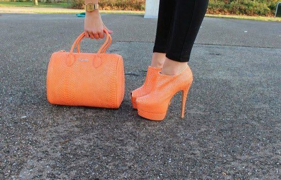 orange bag shoes bag orange
