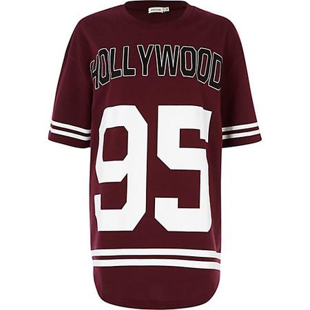 Dark red Hollywood 95 print sweat dress - day / t-shirt dresses - dresses - women ($50.00)