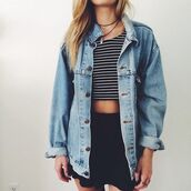 stripes,striped top,crop tops,black skirt,mini skirt,oversized,jacket,jeans,blue dress,grunge,tank top,demin jacket,top,jewels,skirt,shirt,cardigan,coat,socks,denim
