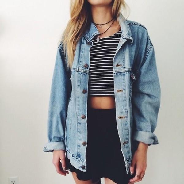 stripes striped top crop tops black skirt mini skirt oversized jacket jeans blue dress grunge grunge tank top demin jacket top jewels skirt crop tops jeans shirt cardigan coat socks denim