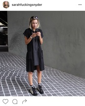 dress,sarahsnyder,sarah snyder,sarah snyder bikini,model,model off-duty,black dress,black,black and white,black boots,black shoes,short dress,mini dress,striped dress