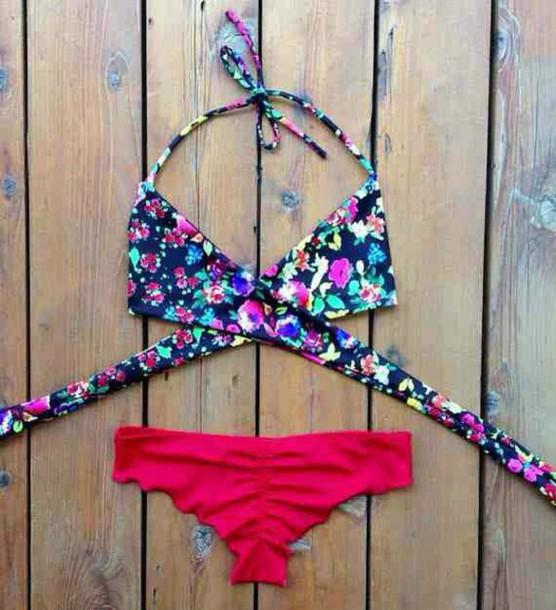 swimwear top floral bikini