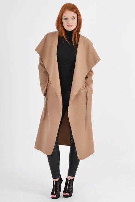 Kim Belted Waterfall Long Sleeve Coat - Camel