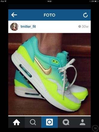 shoes nike air max neon yellow blue neon yellow neon blue gradient nike air max 1 fitness sneakers sportswear bright sneakers