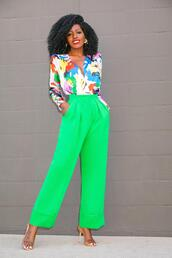 blogger,top,pants,shoes,green pants,sandals,multicolor,spring outfits