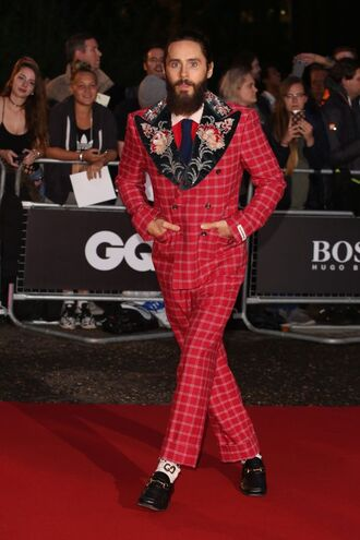 pants jared leto red menswear mens suit mens blazer