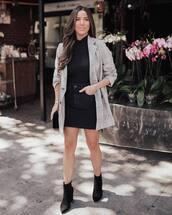 skirt,mini skirt,black skirt,black denim,black blouse,blazer,check blazer,ankle boots,shoulder bag