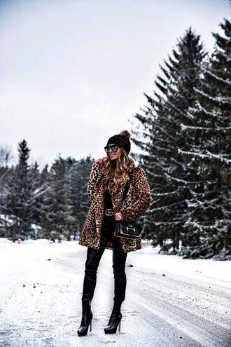 maria vizuete mia mia mine blogger coat hat sunglasses belt bag jeans shoes beanie leopard print winter outfits gucci belt boots