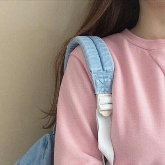 sweater pink baby pink pastel pink urban pink pastel pink sweater pink top backpack blue kawaii grunge