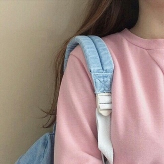 sweater pink baby pink pastel pink urban pink pastel pink sweater pink top backpack blue kawaii grunge pullover winter outfits baby pink sweatshirt jacket