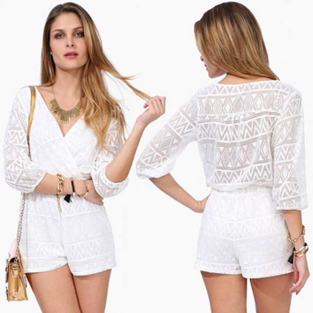 81f5df77aee jumpsuit fashion pretty clothes white lace trendy elegant classy women new  summer v neck beautiful cute