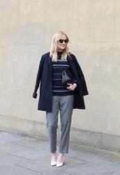 blame it on fashion,blogger,coat,grey pants,striped sweater