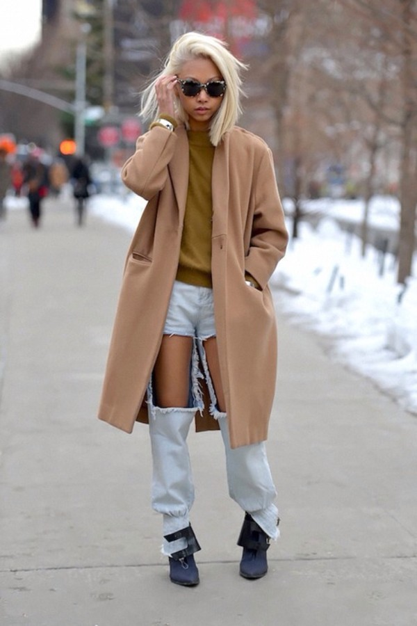 Coat: nude, winter outfits, winter coat, oversized, long coat ...