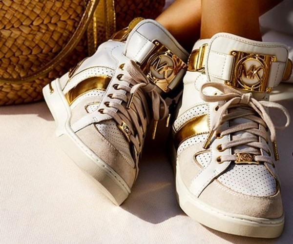 shoes sneakers gold white fashion michael kors