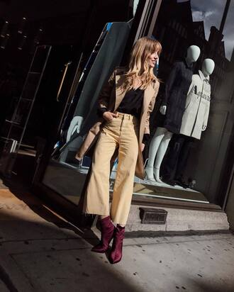 pants wide leg beige pants wide-leg pants beige pants cropped pants top black top boots ankle boots trench coat coat