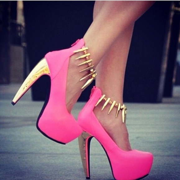 shoes gold heel pink pink high heels