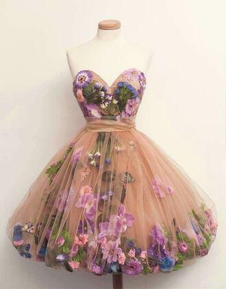dress vintage floral flowers floral dress purple 50s style