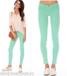 Bright colored mint green soft stretch skinny pencil jeans denim pants nwts