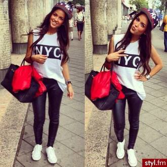 t-shirt pants styl.fm bag red lime sunday shirt hat snapback top leggings leather leggings leather look nyc fashion