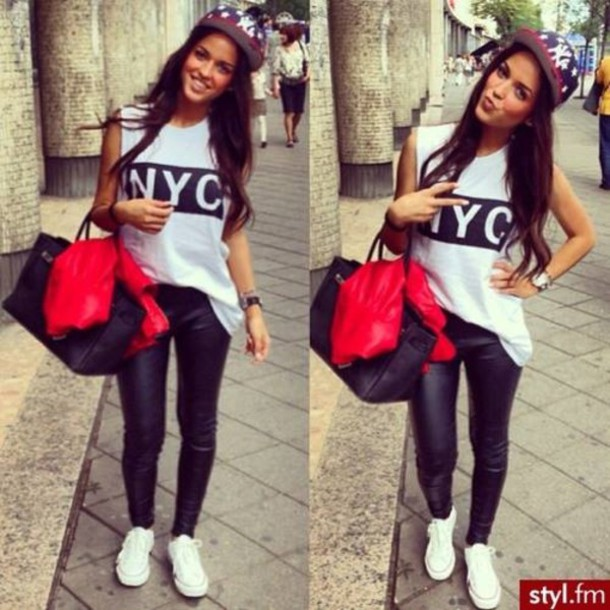 t-shirt pants styl.fm bag tank top white top nyc leggings shirt hat snapback top leather leggings leather look nyc fashion jeans