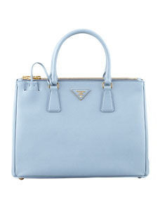 Prada Saffiano Small Double-Zip Executive Tote Bag, Blue (Astrale)