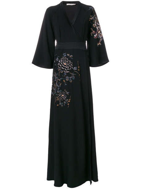 Amen gown metal embroidered women black wool dress