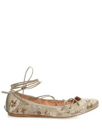 embroidered flats satin beige shoes