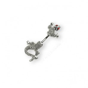 Surgical Steel Split Bodied Lizard Navel Ring with Red Crystal