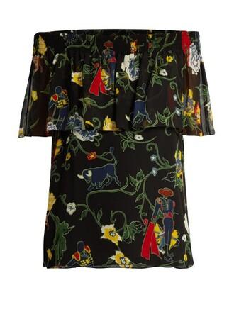 top print silk black