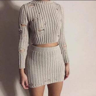 sweater jumper skirt knit khaki beige knit set clothes ribbed knit set