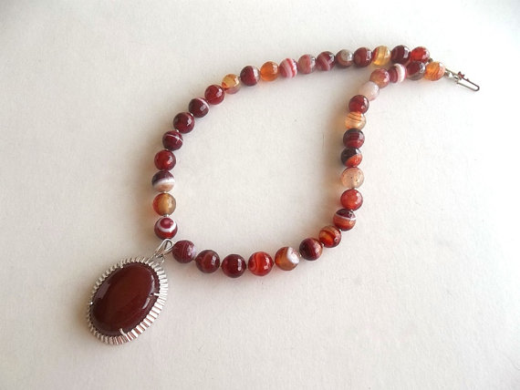 Agate Jewelry Necklace Sterling Silver Sterling by GULDENTAKI