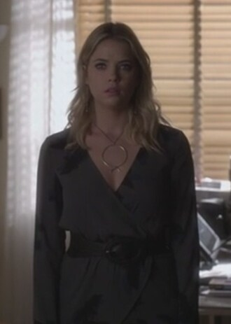 blouse ashley benson pretty little liars hanna marin wrapped gray necklace pullover jewels