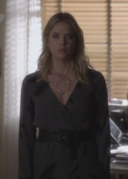 blouse ashley benson pretty little liars hanna marin wrapped grey necklace pullover jewels jewelry gold necklace celebrity style celebrity